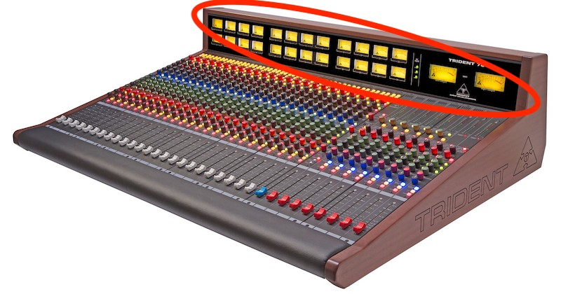 Trident Audio Series 78 24 channel analogue console with vu meter bridge